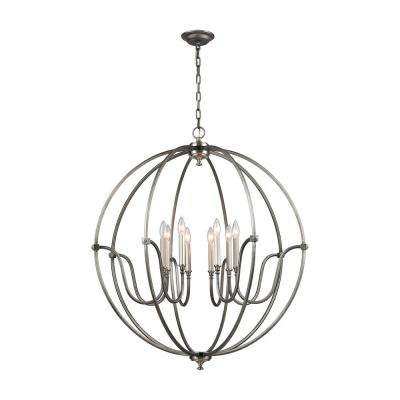 Stanton 8-Light Weathered Zinc Chandelier with Brushed Nickel Accents