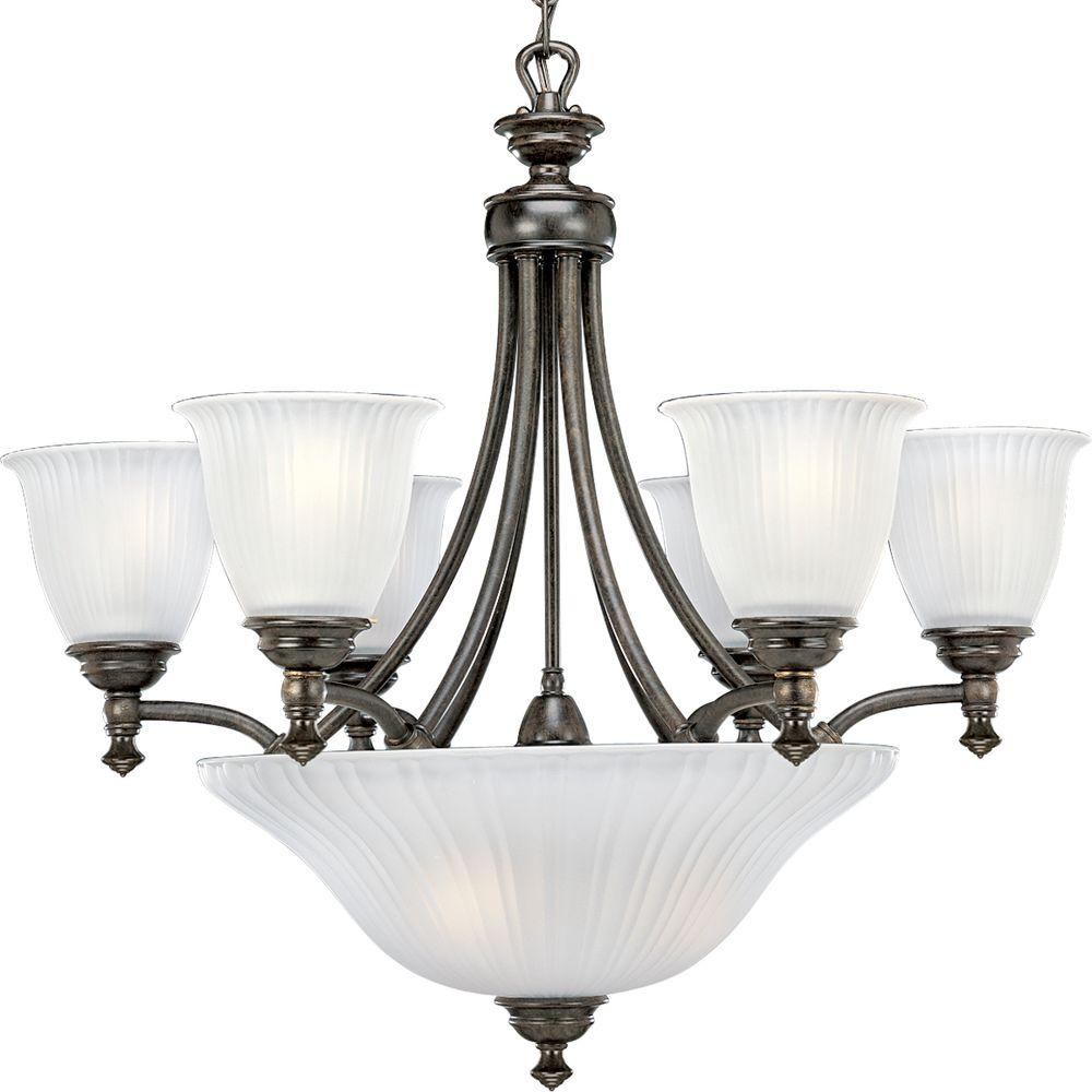 progress lighting fiorentino collection forged bronze. progress lighting renovations collection 9-light forged bronze chandelier with shade fiorentino g