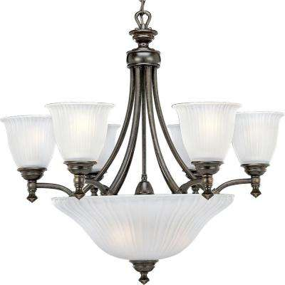 Renovations Collection 9-Light Forged Bronze Chandelier with Shade with Etched Glass Shade