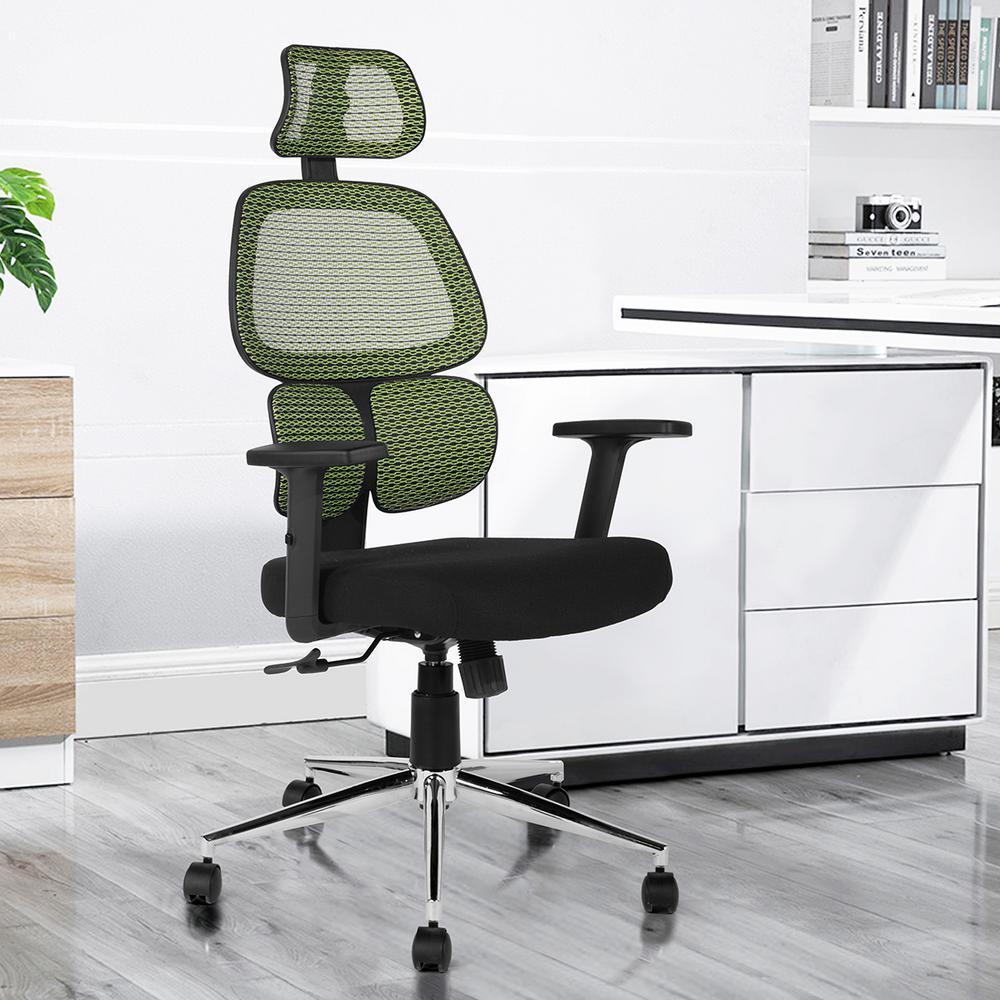 FurnitureR Tikitere Mesh Green Ergonomic Mesh Office Chair
