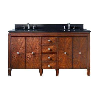 Brentwood 61 in. W x 22 in. D x 35 in. H Vanity in New Walnut with Granite Vanity Top in Black and White Basins
