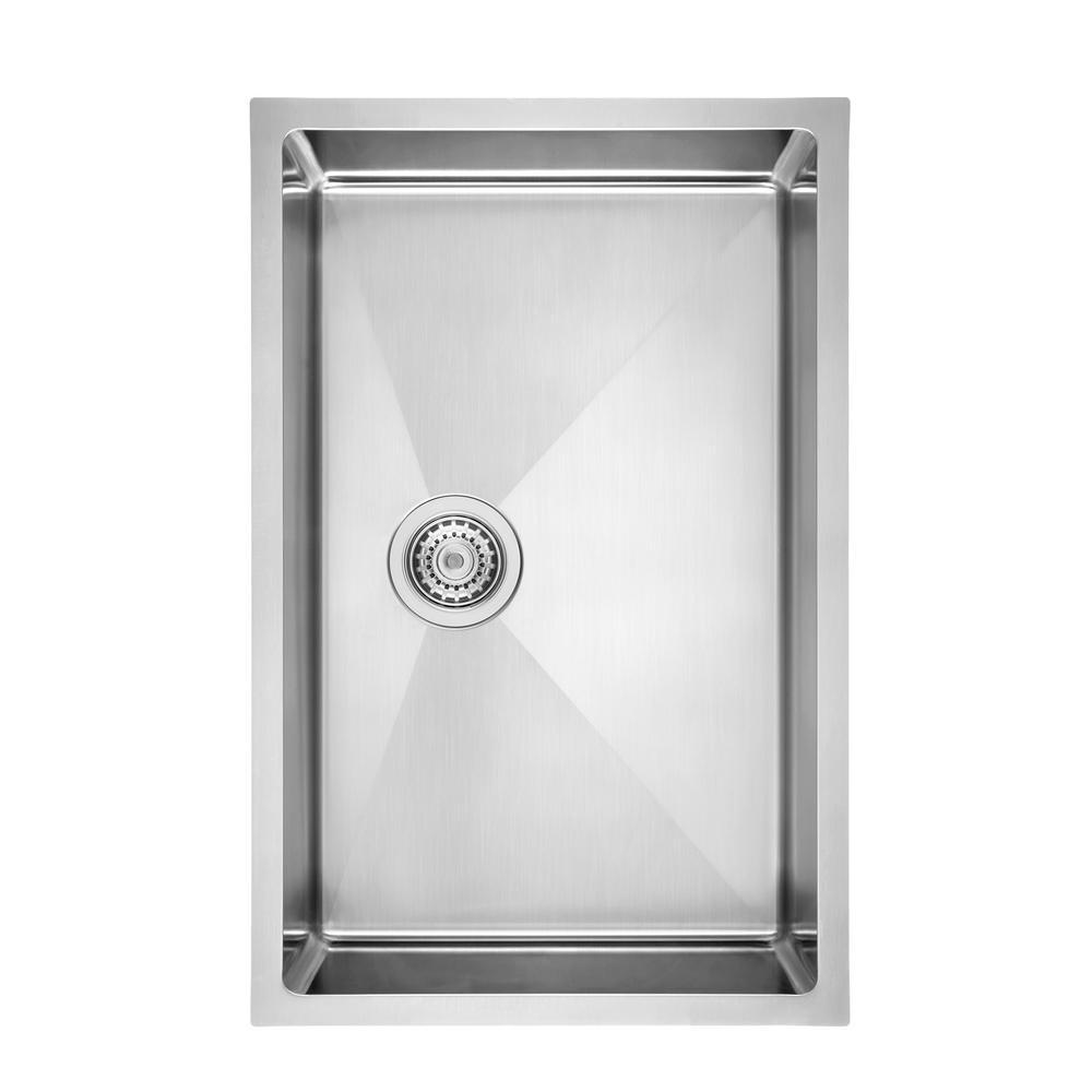 Quatrus R15 Undermount Stainless Steel 28 in. Single Bowl Kitchen Sink