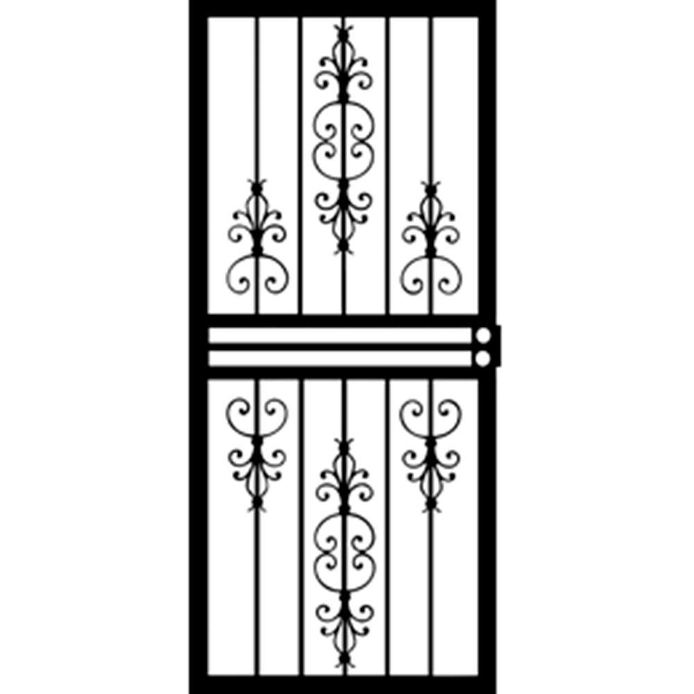 Grisham 36 in. x 80 in. 408 Series Black Countryside Security Door