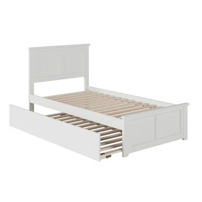 Madison Twin Platform Bed with Matching Foot Board with Twin-Size Urban Trundle Bed in White