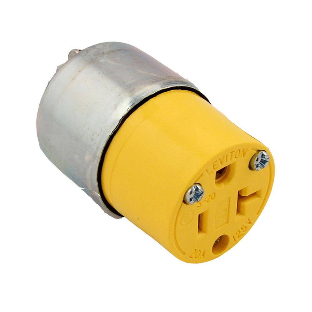 Leviton 20 Amp 125-volt Grounding Plug  Yellow-520ca