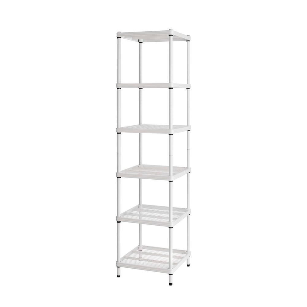 MeshWorks 6-Shelf Metal White Freestanding Narrow Shelving Unit