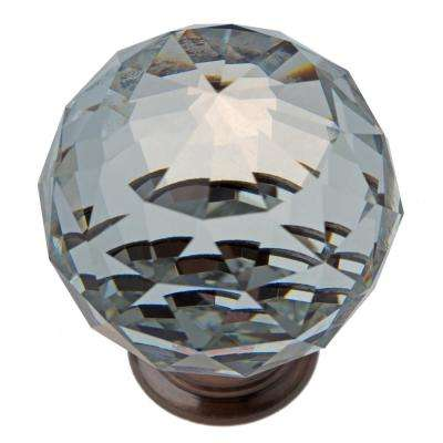 1-5/8 in. Clear Large K9 Crystal with Oil Rubbed Bronze Base Cabinet Knob (10-Pack)