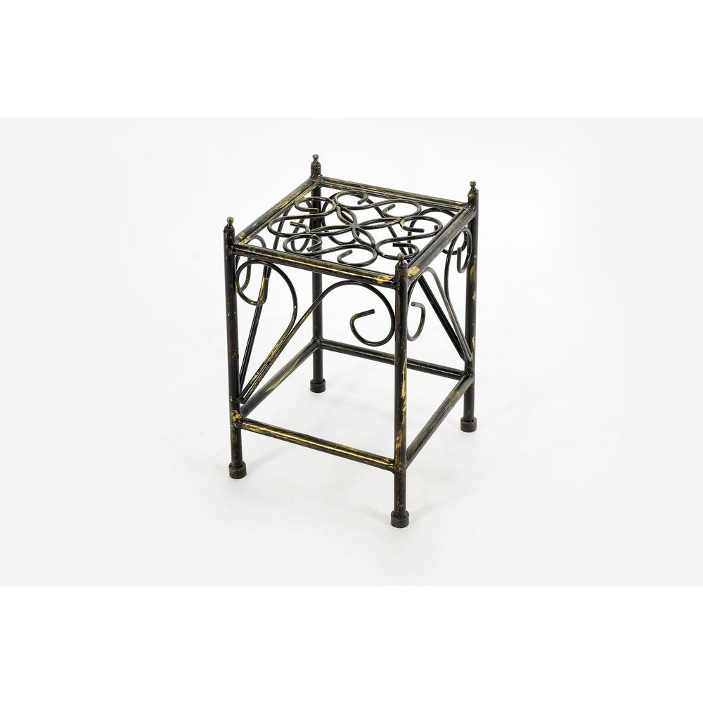 NEW Scrolling 2 Tier Metal Black Butterfly Plant Stand