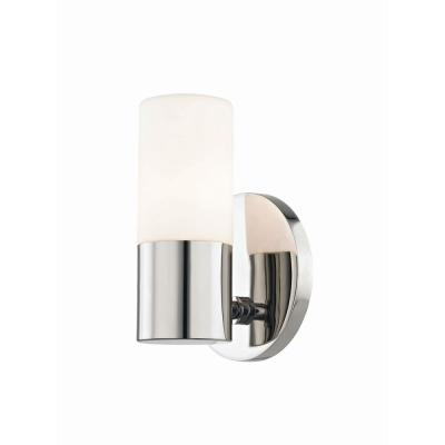 Lola 1-Light Polished Nickel LED Wall Sconce with Opal Matte Glass Shade