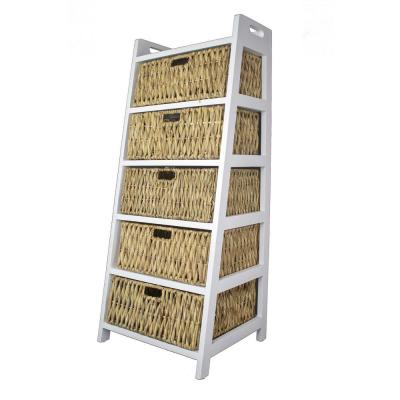 Shelly Assembled 21 in. x 21 in. x 18 in. White Wash Accent Storage Cabinet with 5 Baskets