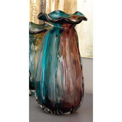 12 in. Crimpled Glass Decorative Vase in Teal and Purple