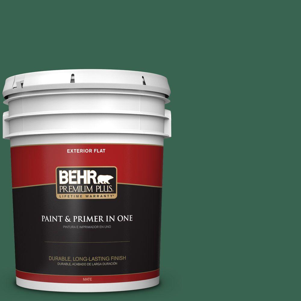 BEHR Premium Plus 5-gal. #480D-7 Isle of Pines Flat Exterior Paint