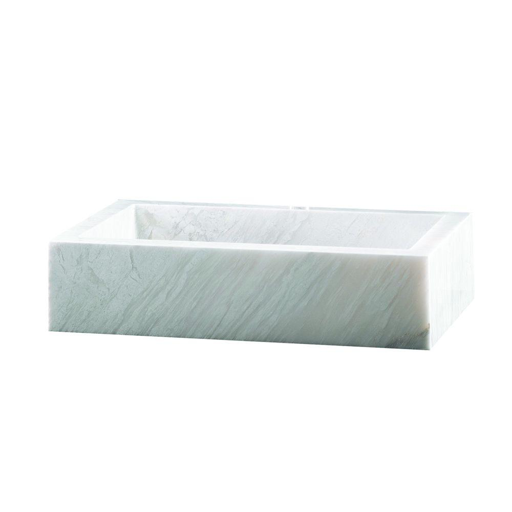 Pegasus Marble Rectangular Block Vessel Bowl in White Cloudy