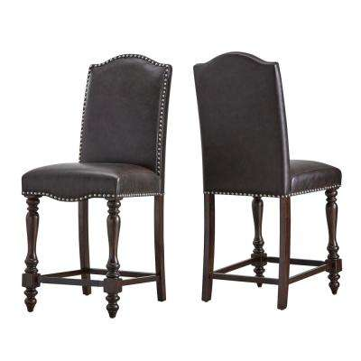 Madison 24 In. Brown Baluster Leg Bar Stool (Set Of 2)