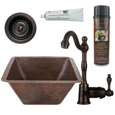 All-in-One Dual Mount Copper 17 in. Large Square Bar/Prep Sink with Faucet and Strainer Drain in Oil Rubbed Bronze
