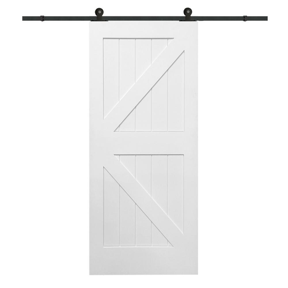 36 in. x 84 in. Primed K-Plank MDF Barn Door with Sliding Door Hardware Kit