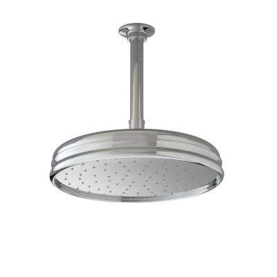1-Spray Single Function 10 in. Traditional Round Rain Showerhead in Brushed Nickel