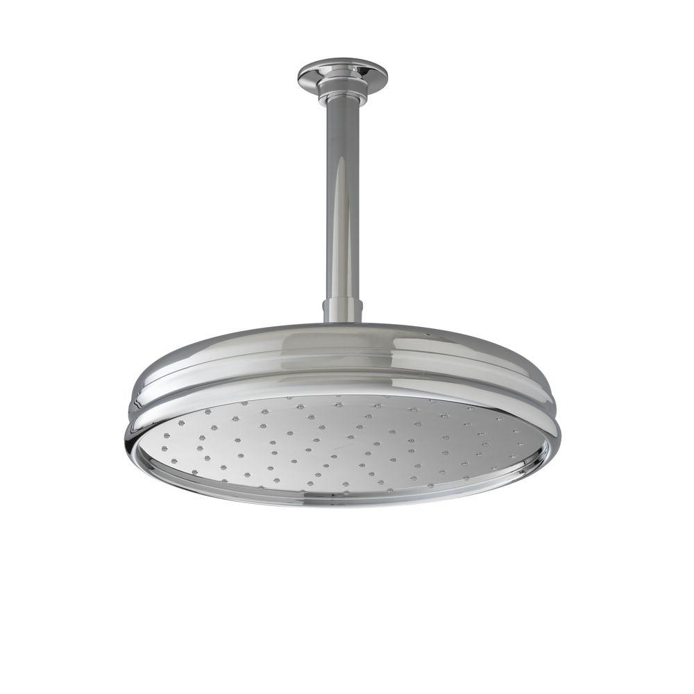 1-spray Single Function 10 in. Traditional Round Rain Showerhead in Brushed