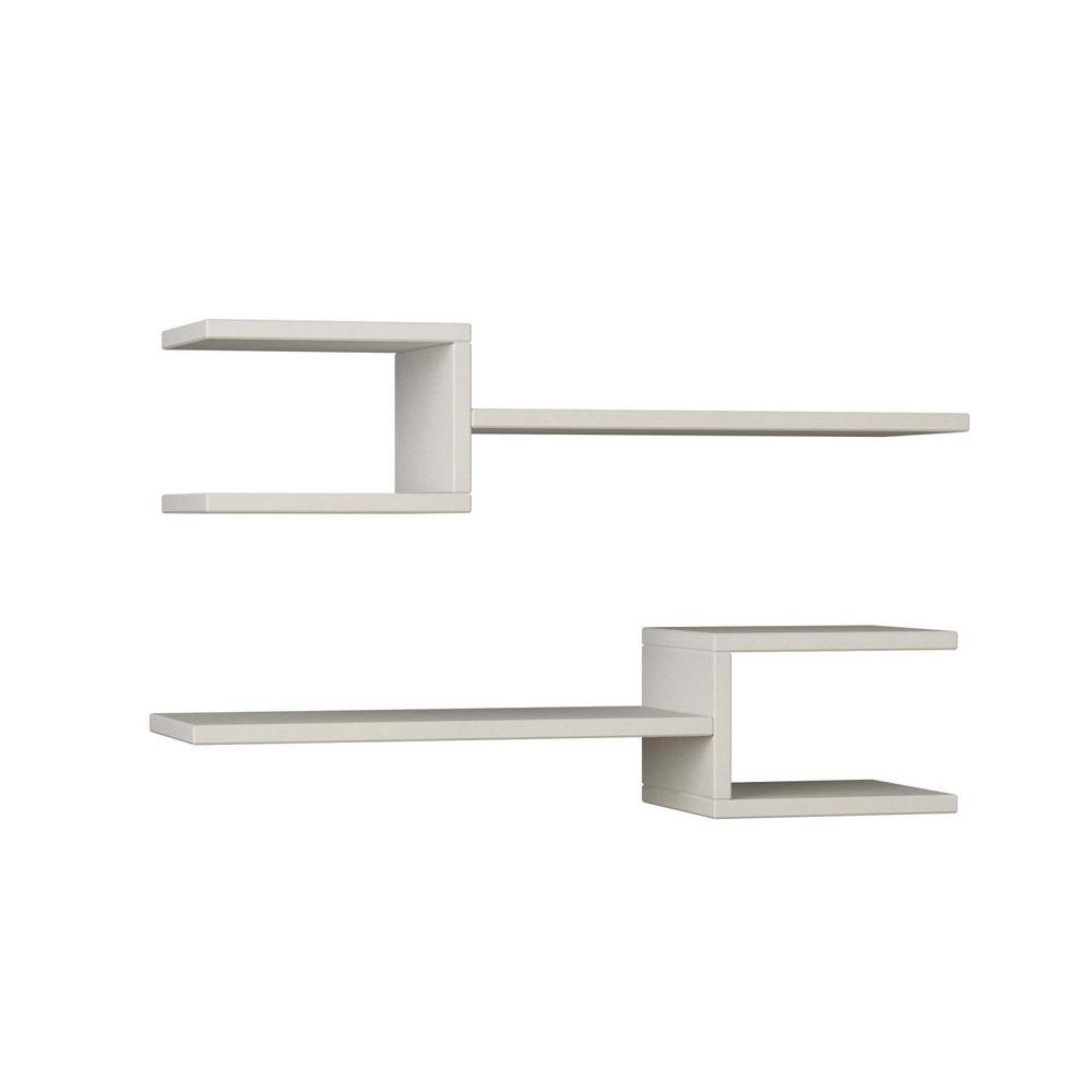 Webbs White Mid-Century Modern Wall Shelf