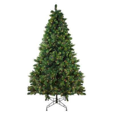 90 in. Pre-Lit Sequoia Mixed Pine Artificial Christmas Tree with Clear Lights