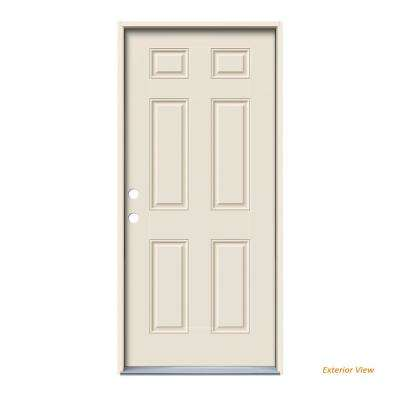 36 in. x 80 in. 6-Panel Primed Steel Prehung Right-Hand Inswing Front Door