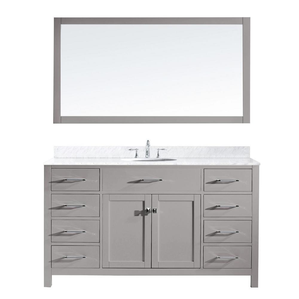 Virtu Usa Caroline 60 In W Bath Vanity Cashmere Gray With Marble Top