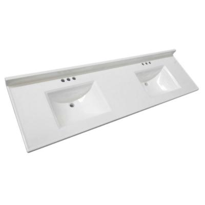 Camilla 73 in. W Cultured Marble Vanity Top in Solid White with Solid White Double Basin and 4 in. Faucet Spreads