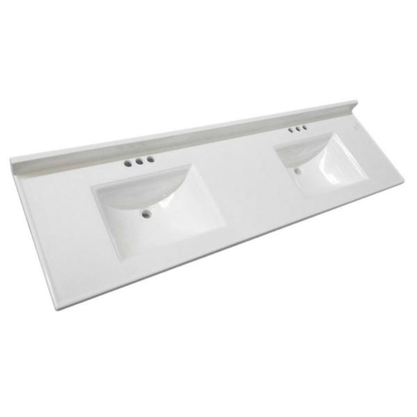 Design House Camilla 73 In W Cultured Marble Vanity Top In Solid White With Solid White Double Basin And 4 In Faucet Spreads 563510 The Home Depot