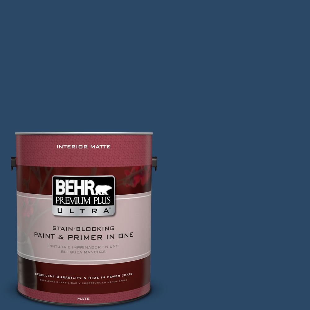 BEHR Premium Plus Ultra 1 gal. #580D-7 Deep Royal Flat/Matte Interior Paint
