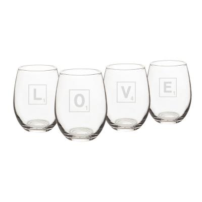 Love Letter 15 oz. Stemless Wine Glasses (Set of 4)