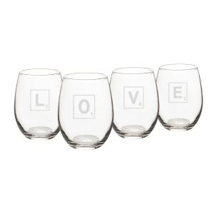 Love Letter 15 oz. Stemless Wine Glasses (Set of 4) by