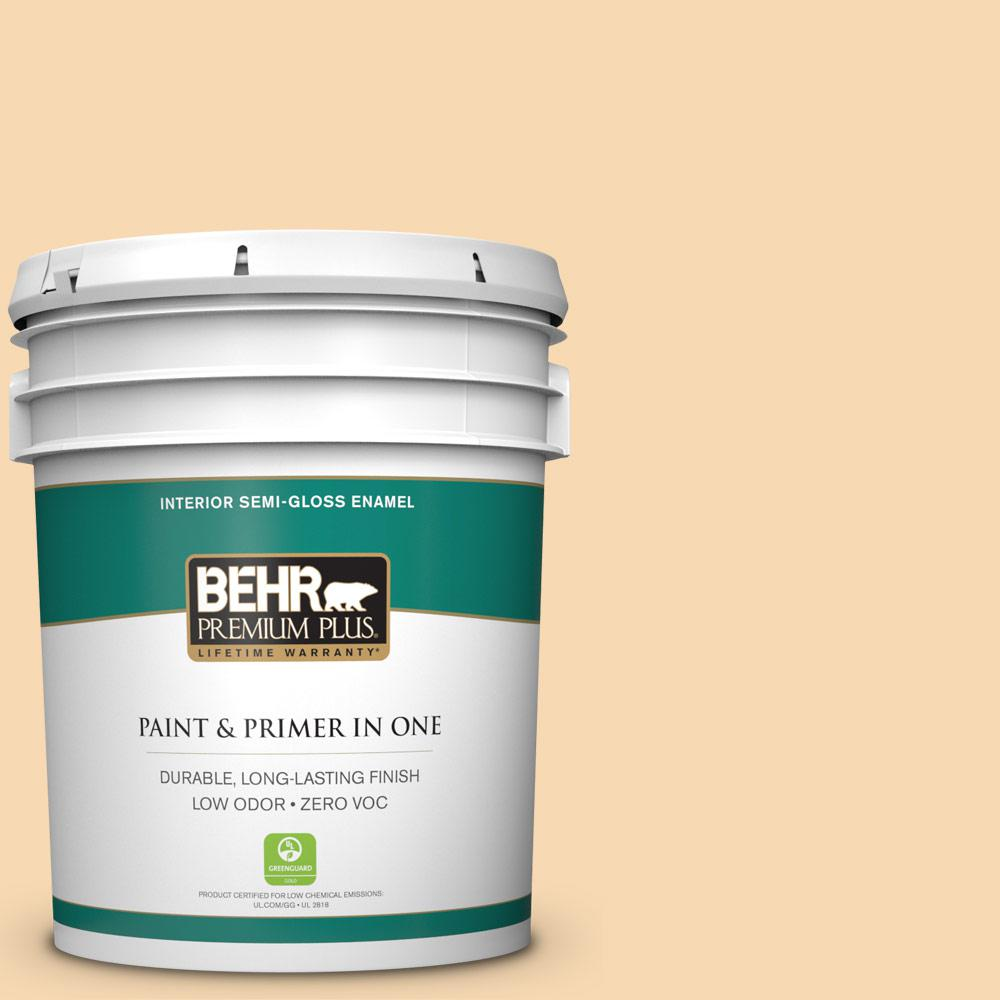 BEHR Premium Plus 5-gal. #ICC-41 Butter Cookie Zero VOC Semi-Gloss Enamel Interior Paint