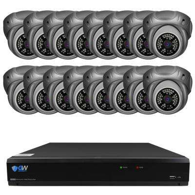 32-Channel 5MP DVR 4TB HDD Surveillance System w/ 16 Wired IP Indoor/Outdoor Cameras Nightvision 3.6 mm Lens 100 ft. IR