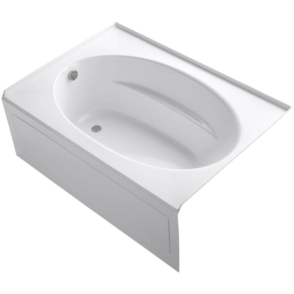 KOHLER Windward 60 in. x 42 in. Acrylic Alcove Bathtub with Integral Apron and Left-Hand Drain in White