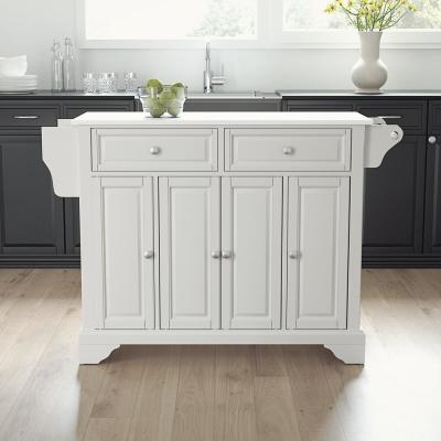 Lafayette White Full Size Kitchen Island/Cart with Granite Top
