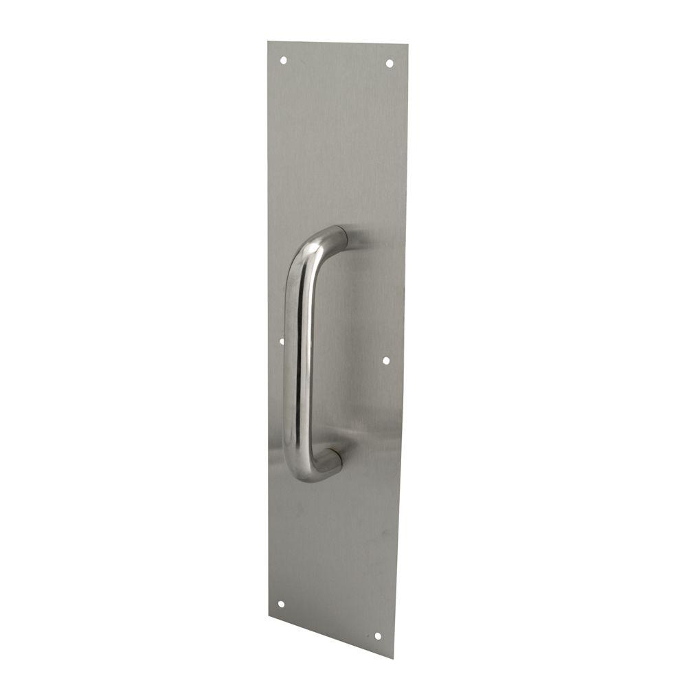 Prime Line 4 In X 16 In Stainless Steel Round Handle Door Pull Plate J 4643 The Home Depot