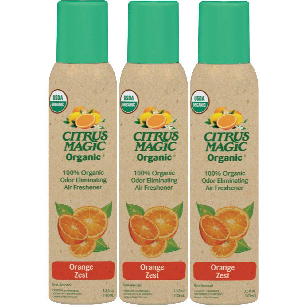 Organic 3.5 oz. Orange Zest Odor Eliminating Air Freshener Spray (3-Pack)