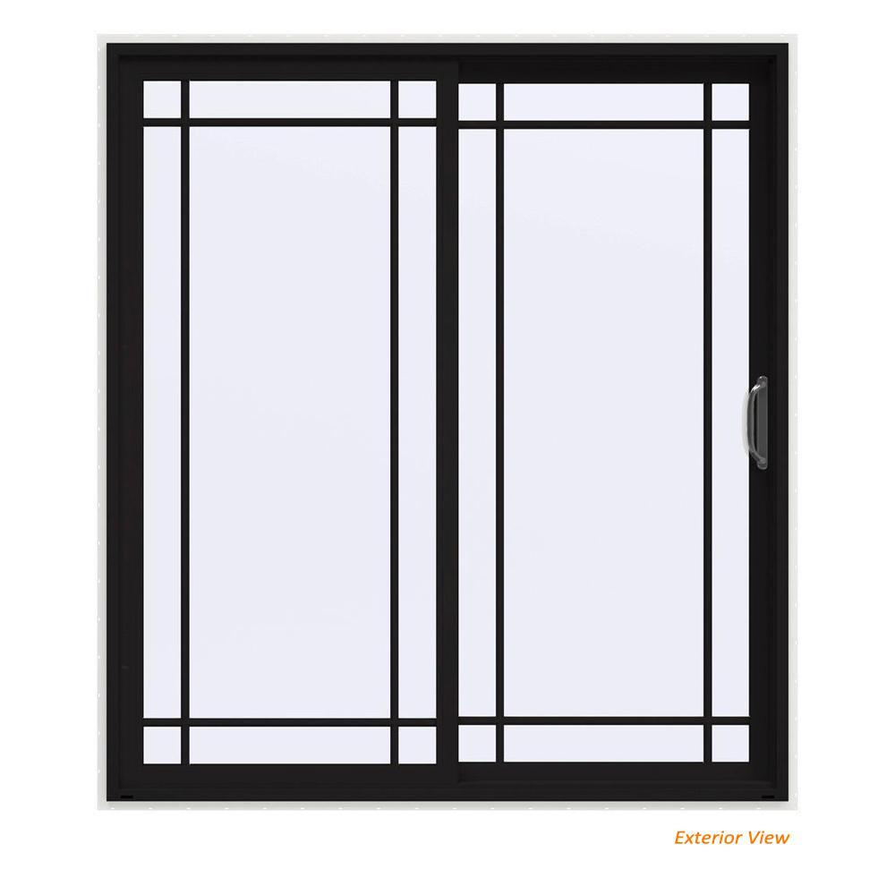 72 in. x 80 in. V-4500 Contemporary Black Painted Vinyl Right-Hand