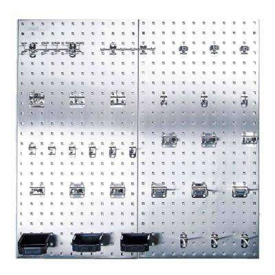 LocBoard 18 in. x 36 in. Stainless Steel Boards with 32-Piece Hook Assortment, 3-Bins and Hardware (2-Quantity)