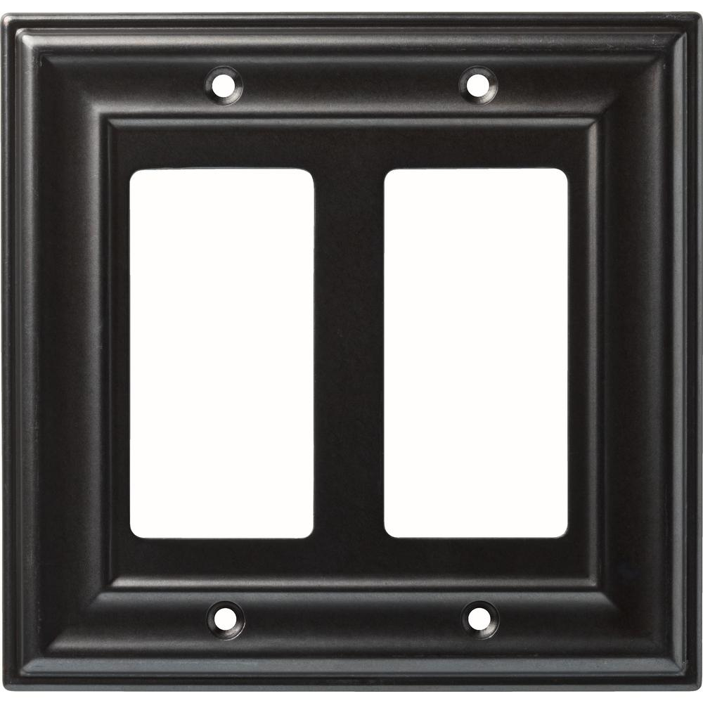 Liberty 2-Gang Winslow Double Decorator Wall Plate, Soft Iron