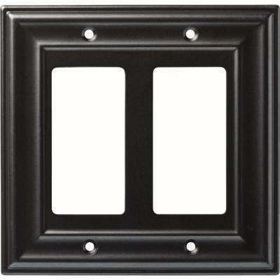 2-Gang Winslow Double Decorator Wall Plate, Soft Iron