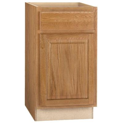 Hampton Assembled 18x34.5x24 in. Base Kitchen Cabinet with Ball-Bearing Drawer Glides in Medium Oak