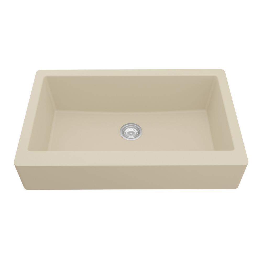 Karran Retrofit Farmhouse/Apron-Front Quartz Composite 34 in. Single Bowl Kitchen Sink in Bisque