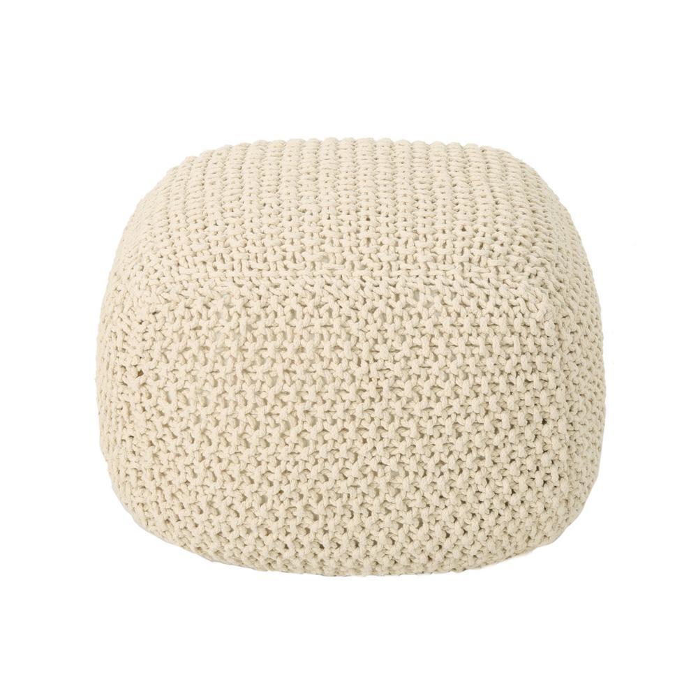 Pim Beige Knitted Cotton Pouf