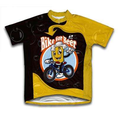 Unisex X-Large Black/Yellow Bike for Beer Microfiber Short-Sleeved Cycling Jersey