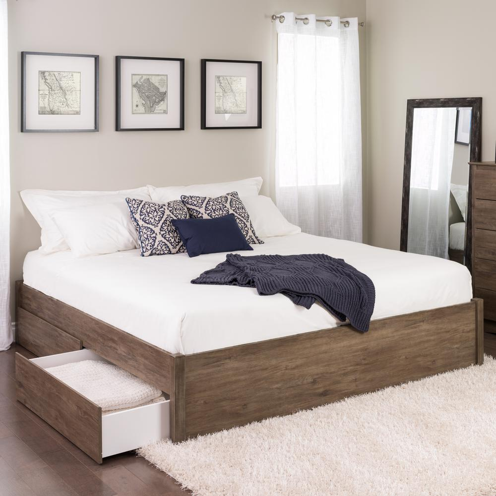 High Quality Prepac Select Drifted Gray King 4 Post Platform Bed With 2 Drawers