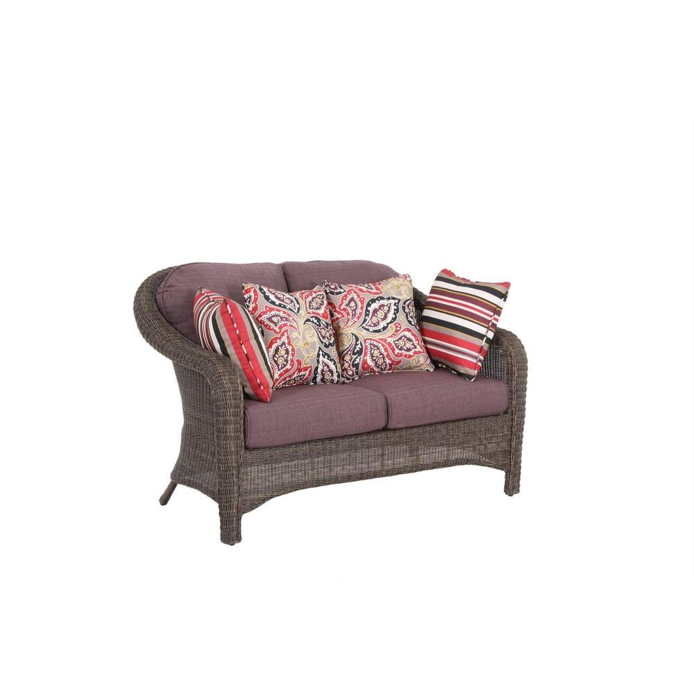 Hampton Bay Walnut Creek Patio Loveseat with Purple Cushion-DISCONTINUED
