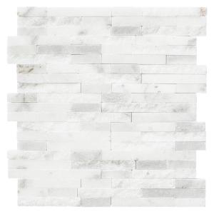 Churchill White Split Face 11.75 in. x 12.625 in. x 13 mm Splitface Textured Marble Mosaic Tile