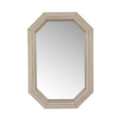 34.25 in. H Farmhouse Washed White Octagon Wood Mirror