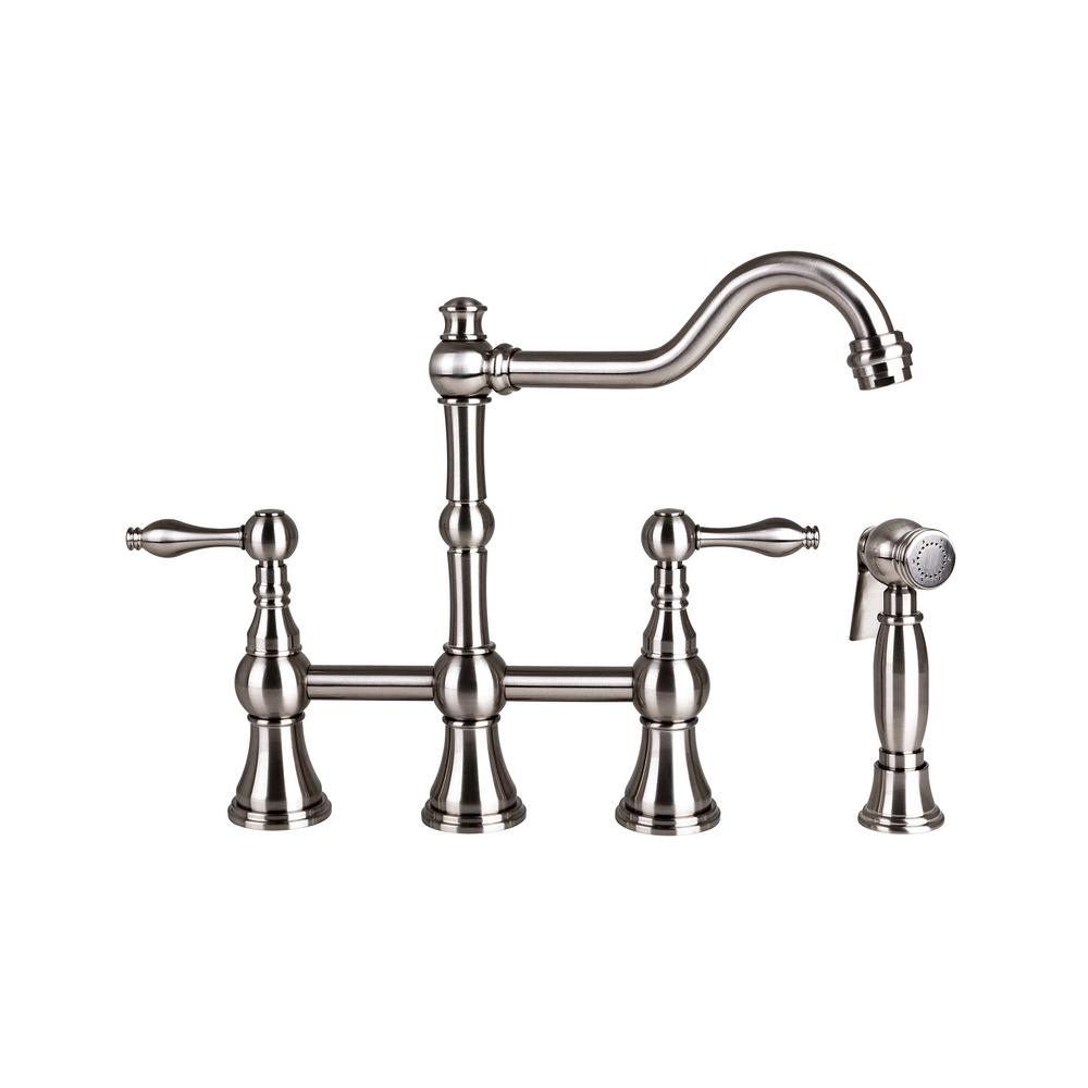 Brienza 2-Handle Bridge Kitchen Faucet with Side Sprayer in Brushed ...
